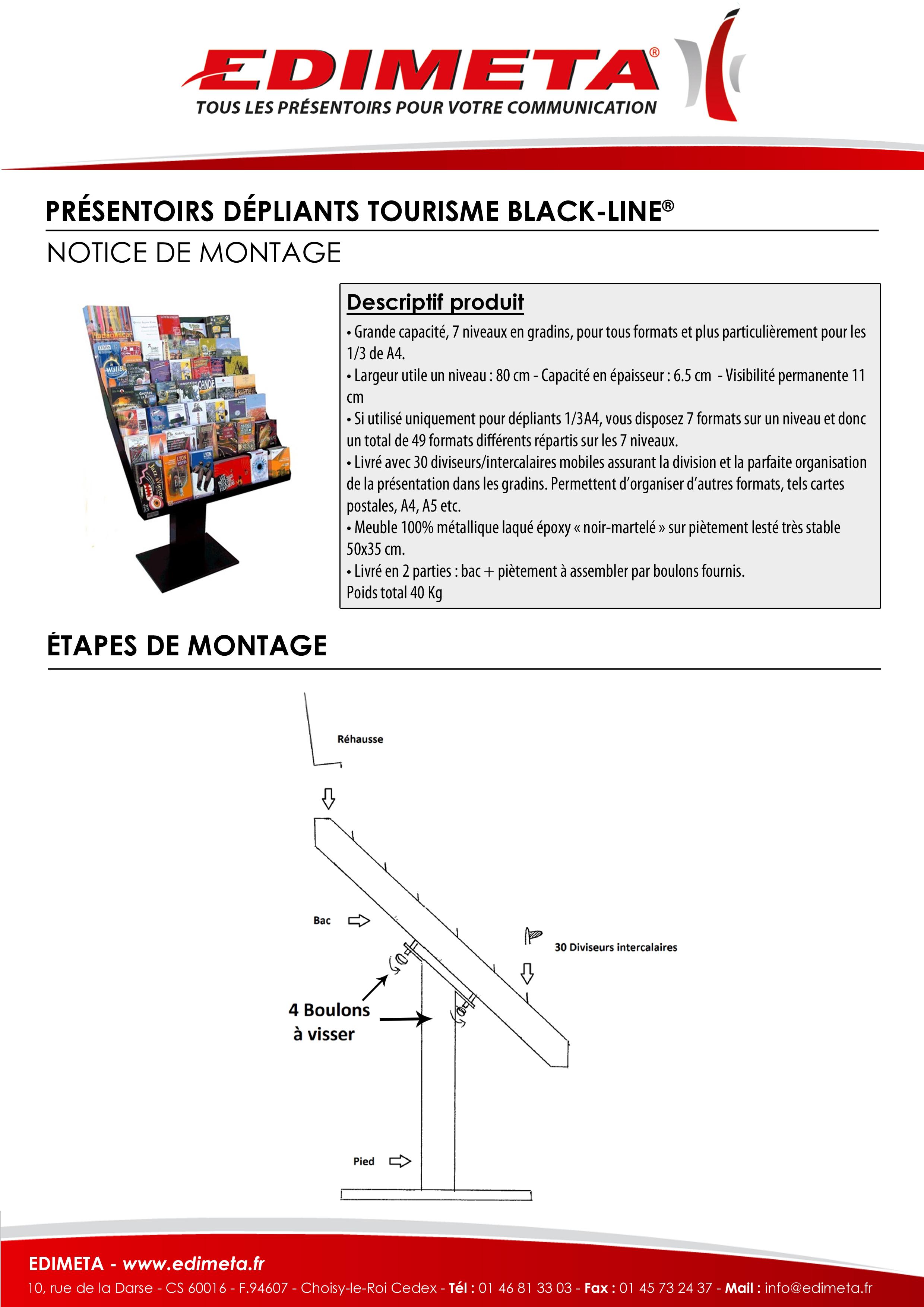 NOTICE DE MONTAGE : PRÉSENTOIRS DÉPLIANTS TOURISME BLACK-LINE®