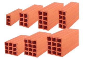 BRIQUE 3 TROUS Type: 3 trous, 28X15X5 Brique Rouges en terre cuite pressées cuites en four continu. Avec couleurs variée