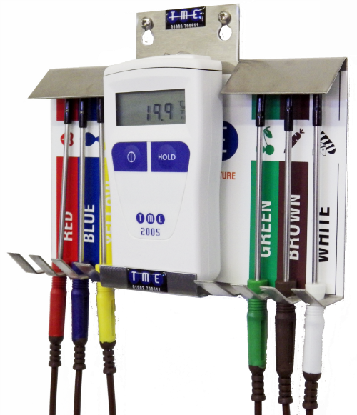 A complete waterproof Catering Thermometer Kit with full set of 6 colour coded Needle Probes and hygienic stainless colo