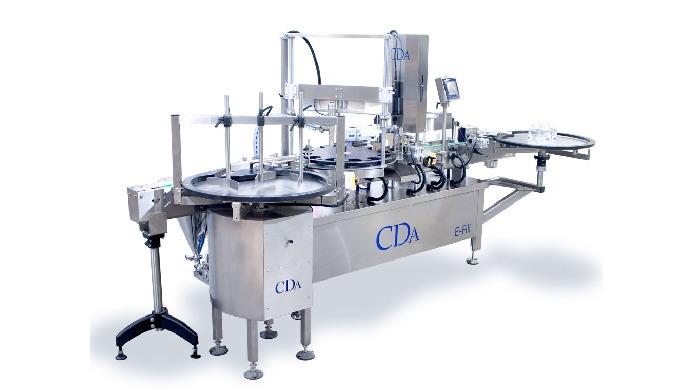 Conçue par la société CDA, la E-Fill est une chaîne de conditionnement automatique complète qui permet le dosage, le vis