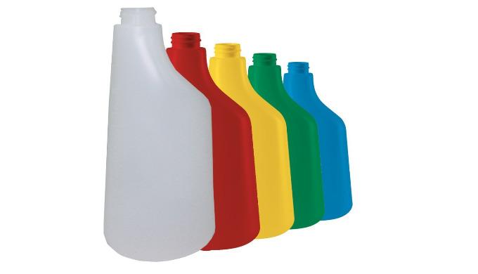 Existe en 4 couleurs + translucide : vert > sols bleu > vitres rouge > sanitaires jaune > désinfection Capacité : 600 ml