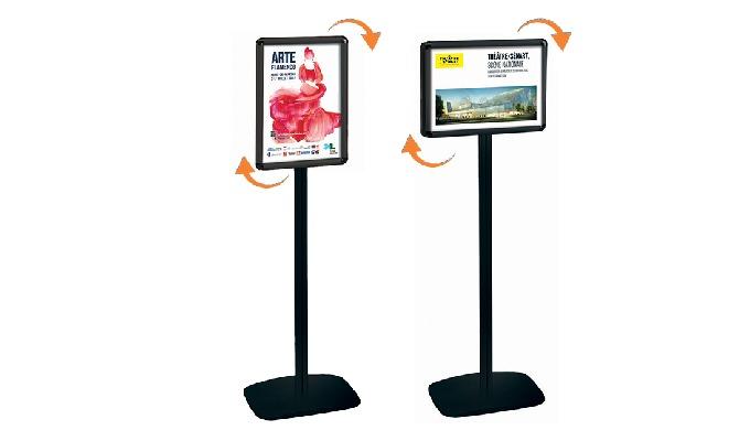Disponibles en simple-face ou double-face, hauteur 133 ou 158 cm Porte-affiches Cadro-Clic à profilés rabattables, ouver