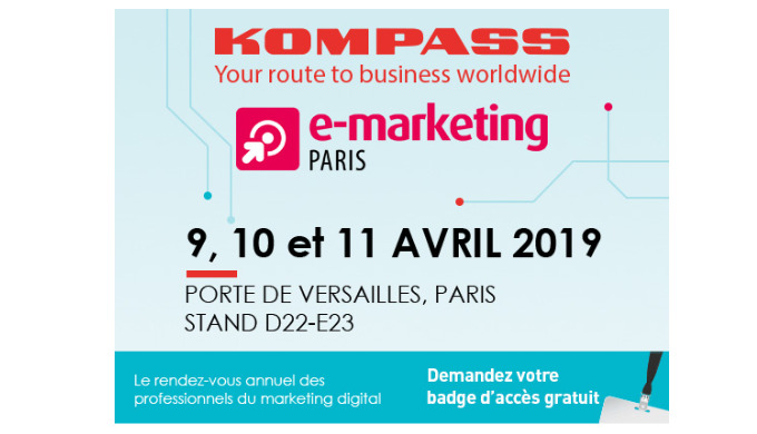 Kompass est présent sur le salon Emarketing du 9 au 11 avril 2019