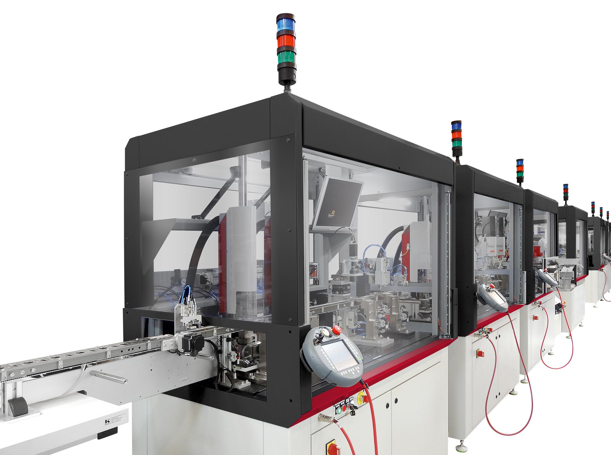 Sondermaschinen, hauptsächlich bestimmt für die automatisierte Montage von mikrotechnischen Produkten, welche hohe Anspr