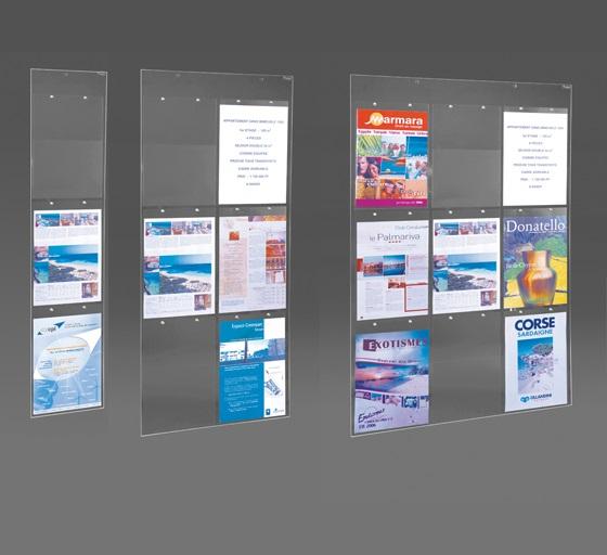 Idéal pour afficher vos formats A4 dans un espace réduit Utilisation murale ou suspendue Panneaux plexiglass transparent