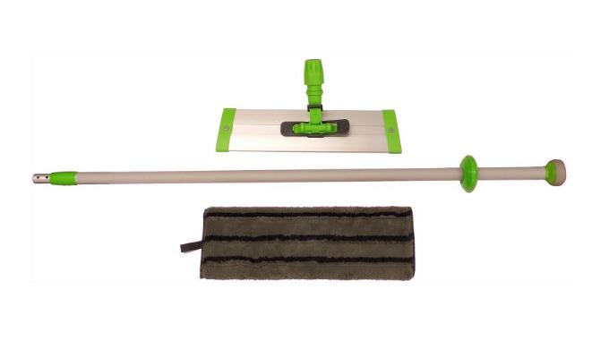 Balai complet composé d'un manche télescopique 2 brins, 170 cm déployé, d'un support rail, d'une frange à Velcros, grise