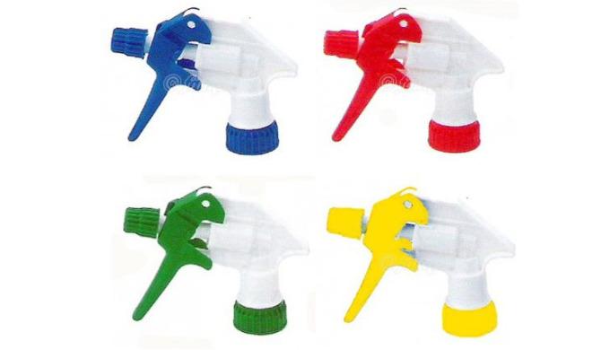 Tex-Spray Blanc / Bleu avec buse ajustable de brouillard à jet droit. Excellente résistance aux produits chimiques.
