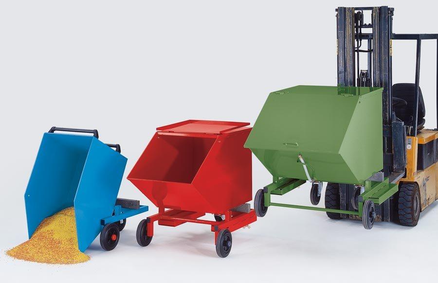Kippbehälter für Schüttgut, mit Vollgummireifen