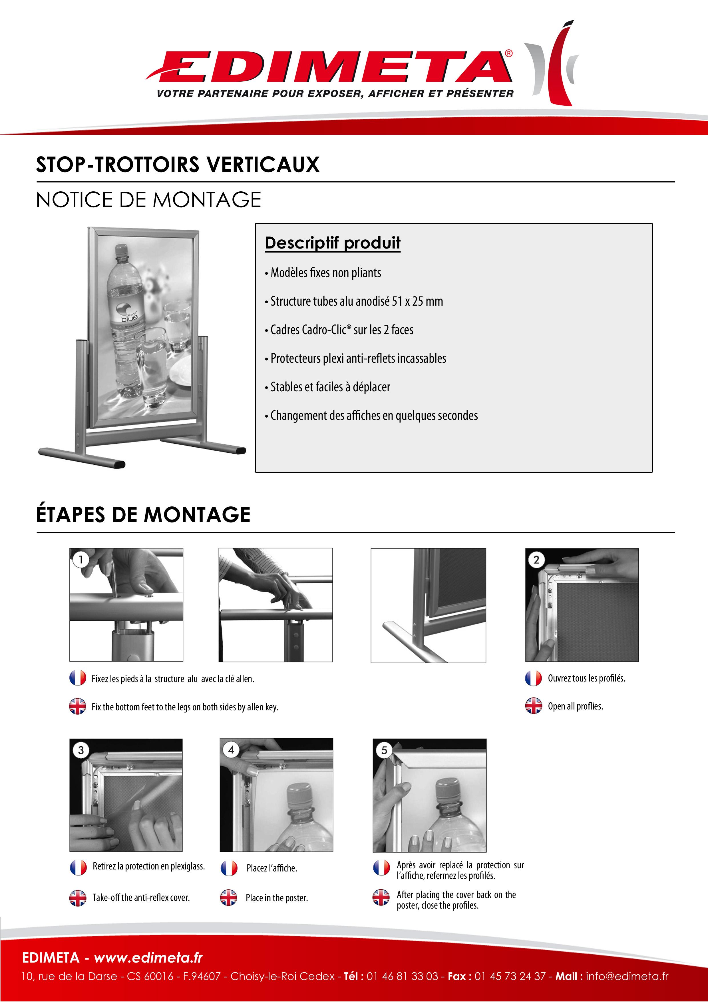NOTICE DE MONTAGE : STOP-TROTTOIRS VERTICAUX CADRO-CLIC®