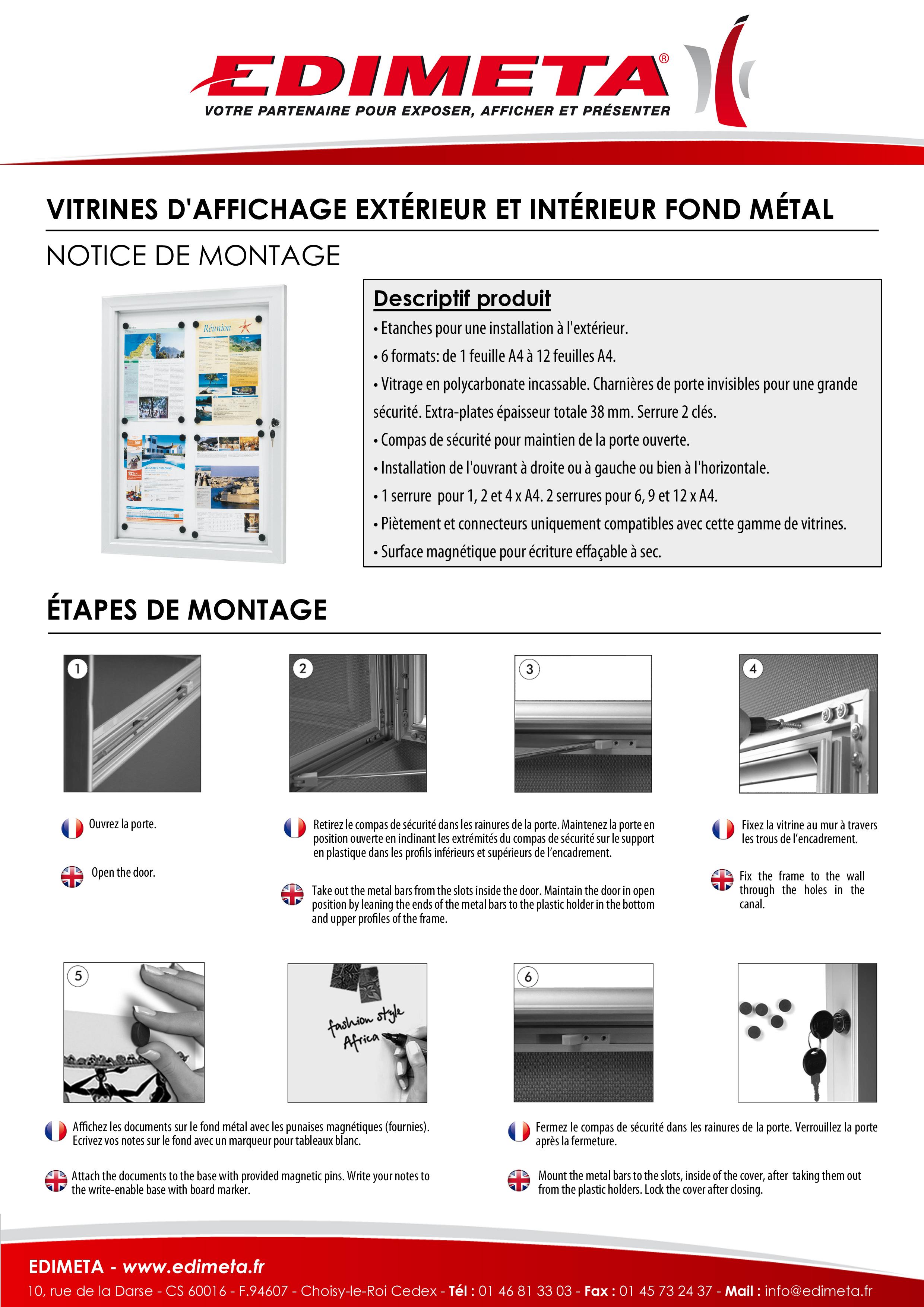 NOTICE DE MONTAGE : VITRINES D'AFFICHAGE EXTÉRIEUR ET INTÉRIEUR FOND MÉTAL