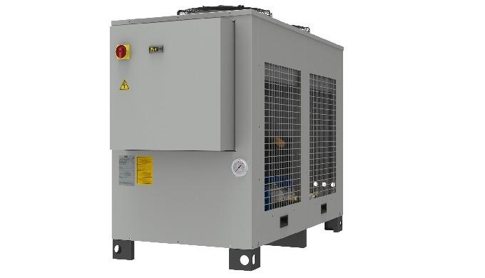 Refrigeratore di liquido con struttura a sviluppo orizzontale in due versioni : WLA R407C condensato ad aria monocircuit