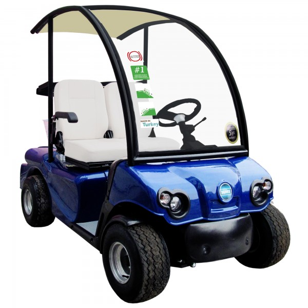 Golf buggies used to carry people and loads.