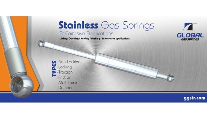 Most of GLOBAL gas spring types can be manufactured in stainless steel. Stainless steel gas springs are used in heavy co
