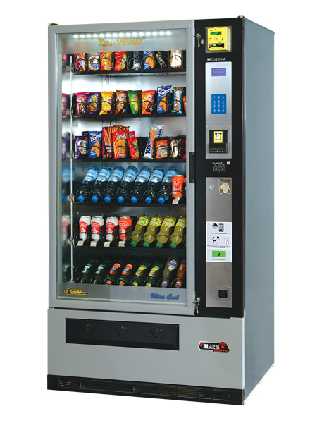 The Maxi-Buffet® is a high-capacity full-view glass-front combination vending machine which can dispense snacks and cold