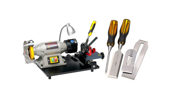 Schärfen von Holzbearbeitungswerkzeugen Die NEUE Stechbeitel- (Stechbeutel) und Hobelmesser-Schleifmaschine WOOD-TOOL-GR