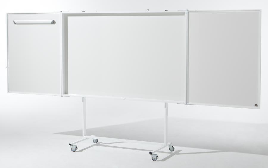 Weißwandtafel mit Projektionsfläche Flip-Chart, Magnettafel und Projektionswand in einem Hochwertiger Schrank – außen zw