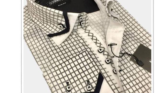 Double col chemises pour hommes (en % 100 coton, prêt pour l'expédition)