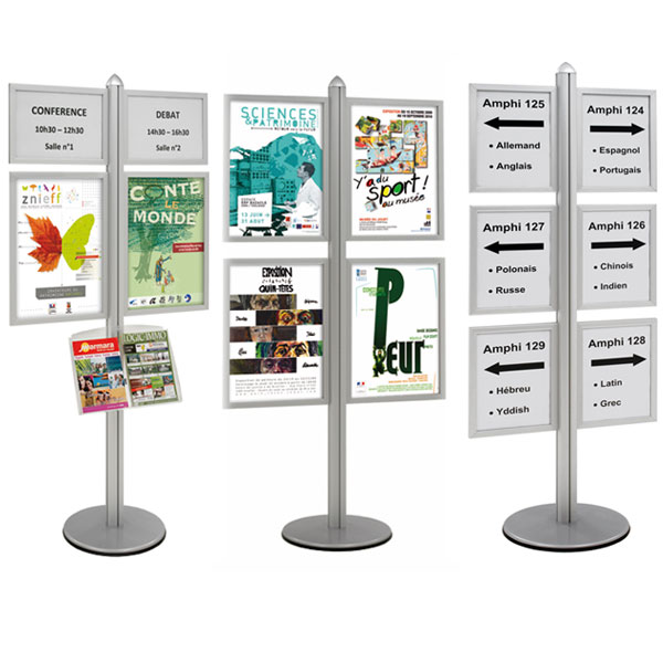 PORTE-MESSAGES DE SOL INFO-DISPLAYS® DOUBLE-FACE H 192 CM