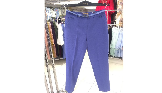 Blue material trousers