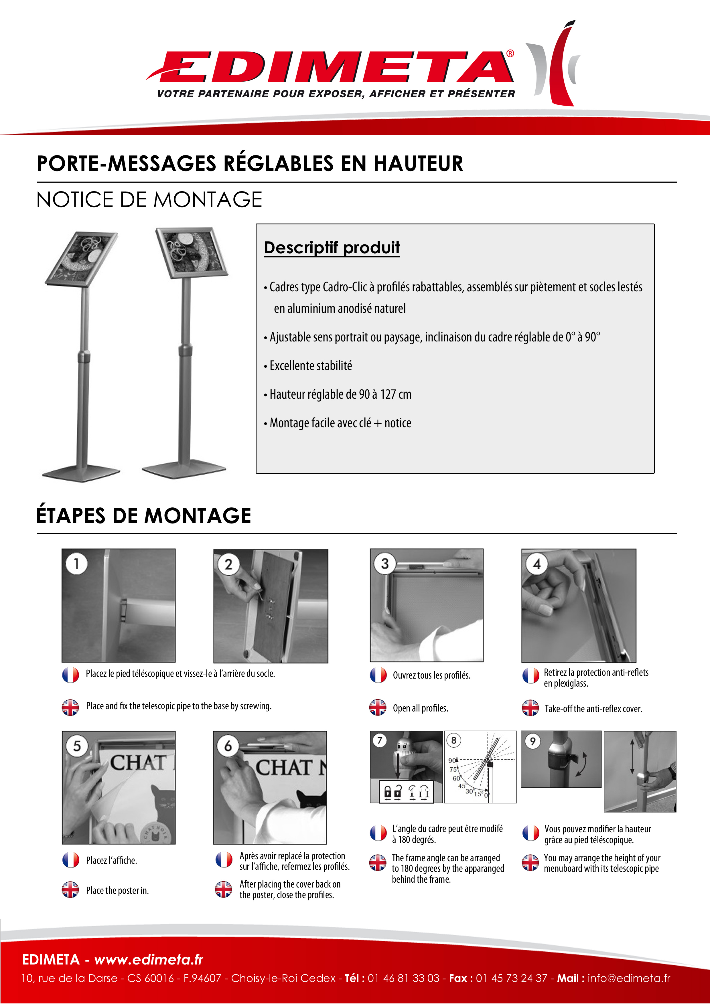 NOTICE DE MONTAGE : PORTE-MESSAGES RÉGLABLES EN HAUTEUR