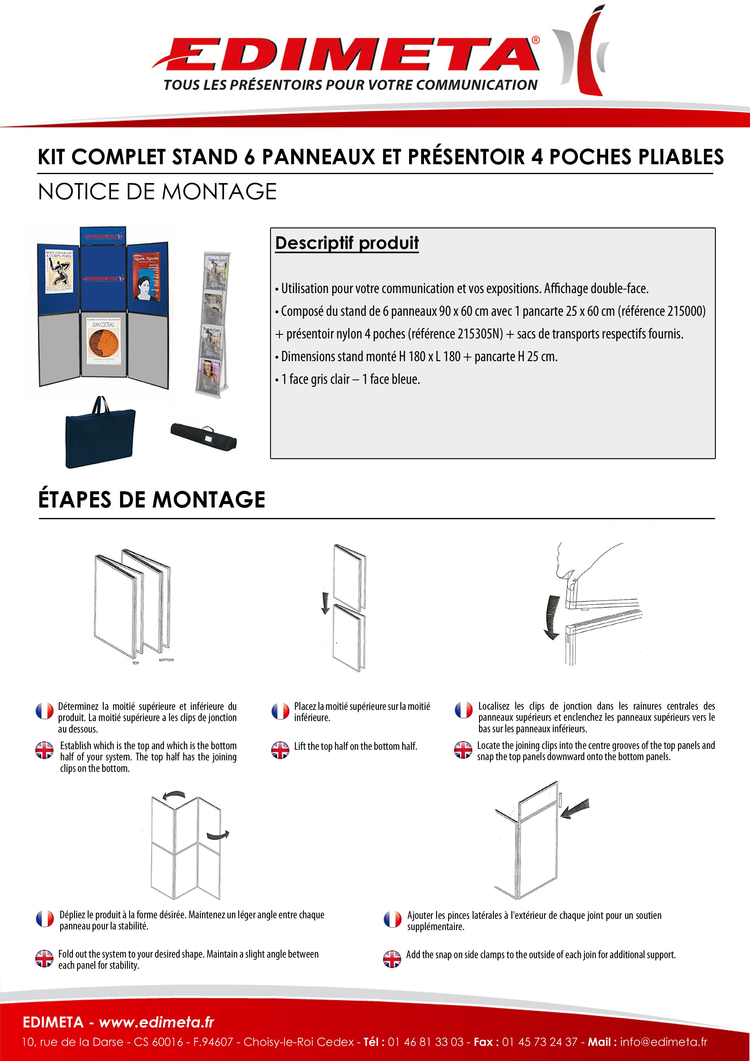 NOTICE DE MONTAGE : KIT COMPLET STAND 6 PANNEAUX ET PRÉSENTOIR 4 POCHES PLIABLES