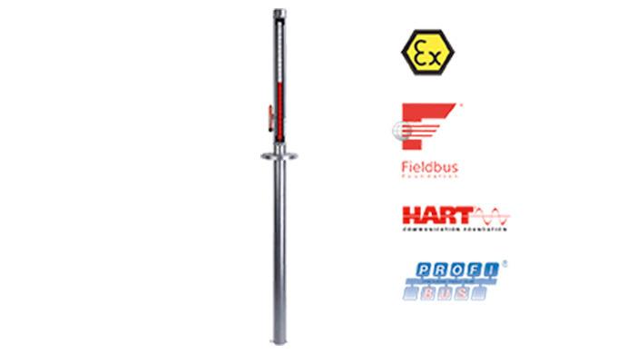 """Messlänge: max. 4 m Anschluss: DIN-Flansch DN50 / 65, ANSI-Flansch 2"""" / 2&frac12&#x3b;"""" Material: Edelstahl 1.4571 pmax: PN16"""