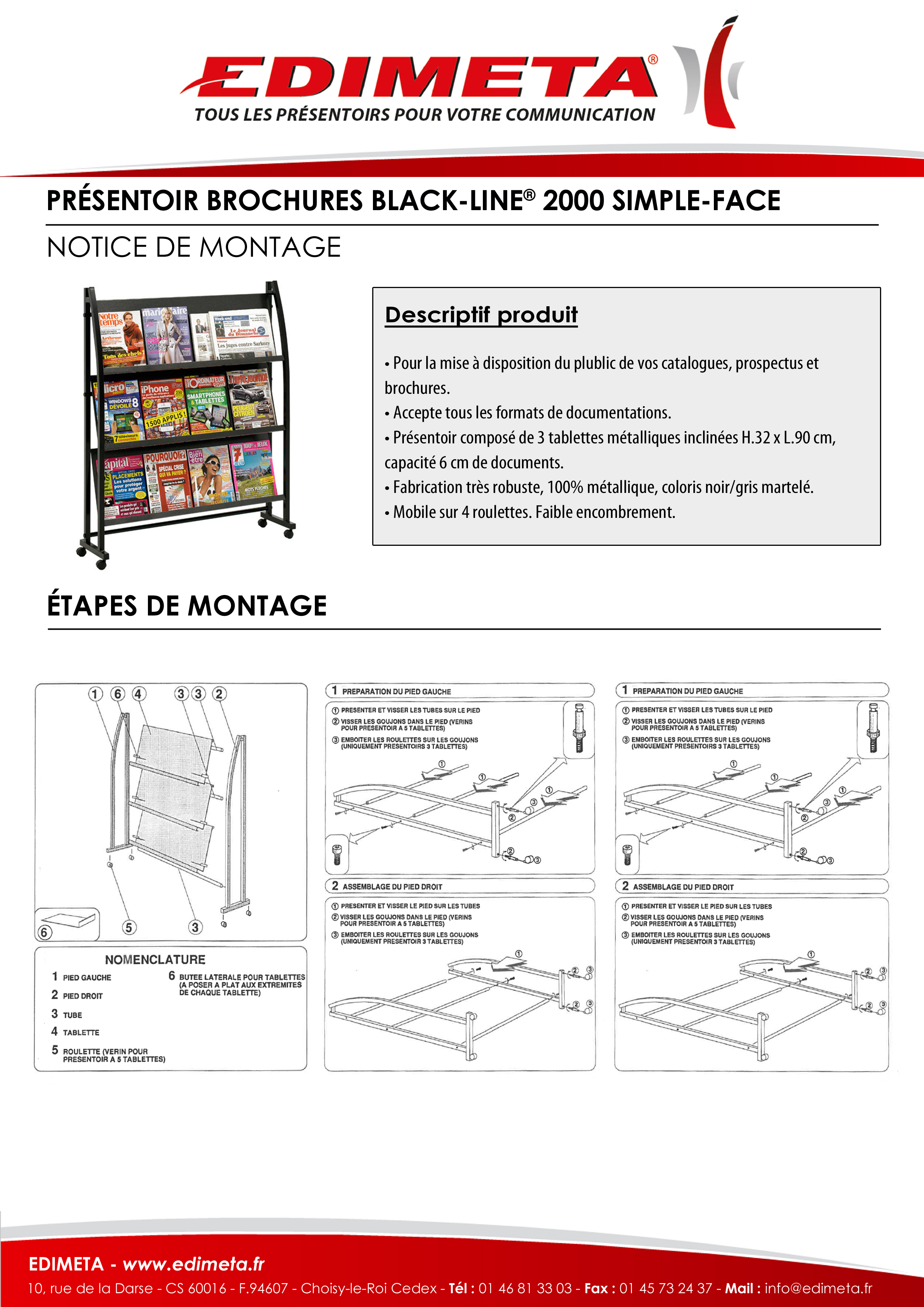 NOTICE DE MONTAGE : PRÉSENTOIR BROCHURES BLACK-LINE® 2000 SIMPLE-FACE
