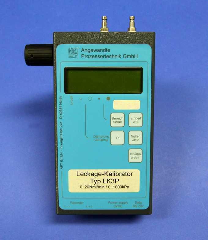 Einsetzbar für Unter- und Überdruck Manuelle Testleckage-Einstellung mittels Präzisionsventil Druckbereich -100 - 1000 k