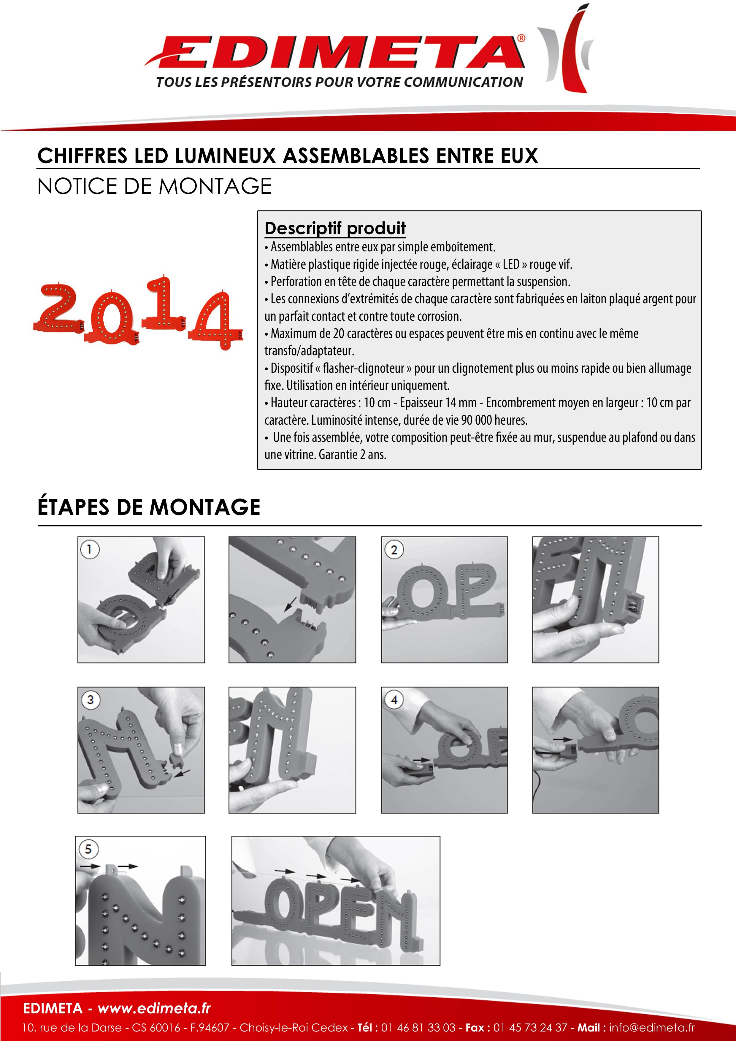 NOTICE DE MONTAGE : CHIFFRES LED LUMINEUX ASSEMBLABLES ENTRE EUX