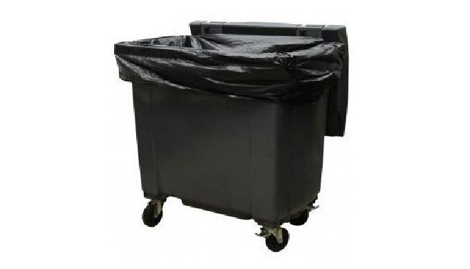 Housses pour containers 750L, en polyéthylène basse densité. Paquets avec liens de fermeture. Housses conçues pour proté