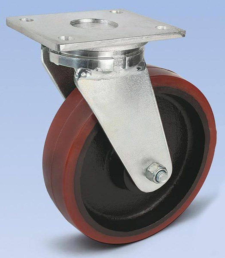 Rad-Ø x Breite 150 x 50 mm, Plattenmass 175 x 140 mmGehäuse in schwerer Stahlschweißkonstruktion, verzinkt. Lenkrollen m