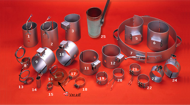 Resistencias de abrazadera en mica: Datos necesarios para la fabricación: Ø-diámetro, anchura/longitud, voltaje, potenci
