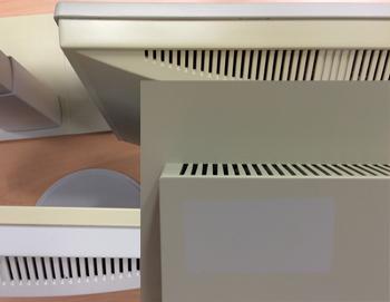 """""""Ein Etikett schützte das Monitorgehäuse partiell vor Lichtalterung, Gehäuseteile eines Monitors zeigen unterschiedliche"""