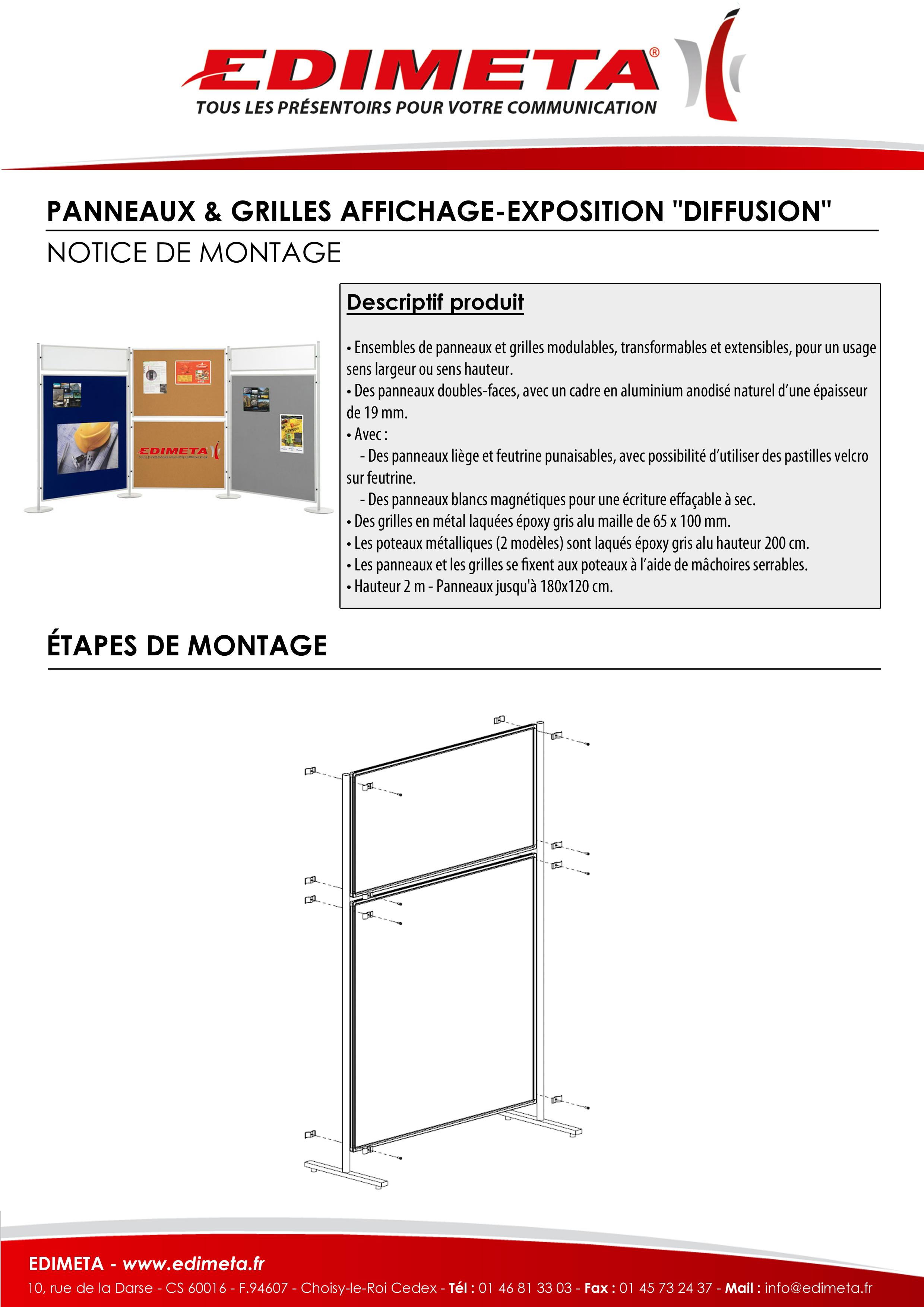 """NOTICE DE MONTAGE : PANNEAUX & GRILLES AFFICHAGE-EXPOSITION """"DIFFUSION"""""""