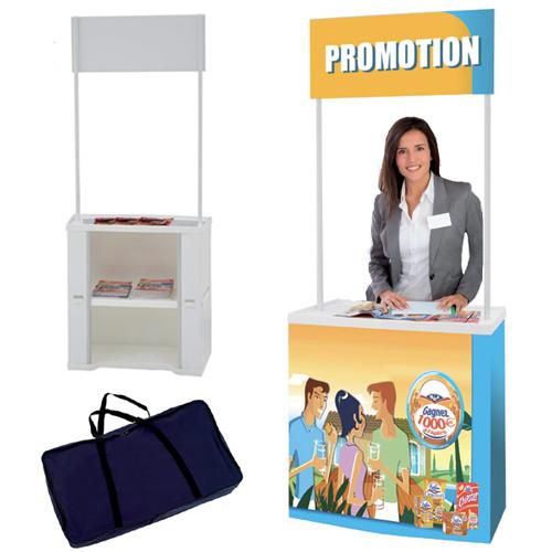 Solution idéale pour vos opérations de marketing, foires, expos, démonstrations... 1 plateau supérieur 51 x 90 cmen pol
