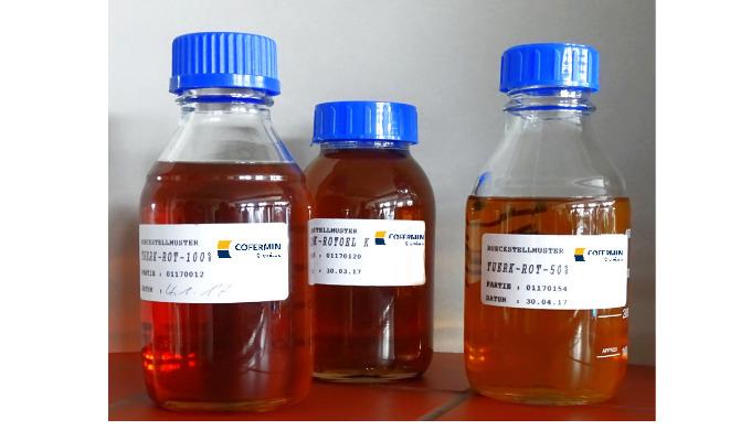 Türkischrotöle (Rizinusöl sulfatiert) der Cofermin Chemicals in Essen, Deutschland. Hergestellt in Deutschland. Biologis