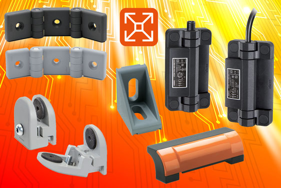 Profile Compatible interlock hinges, panel support clamps, hinges, corner brackets and handles for Safety Workstations from Elesa