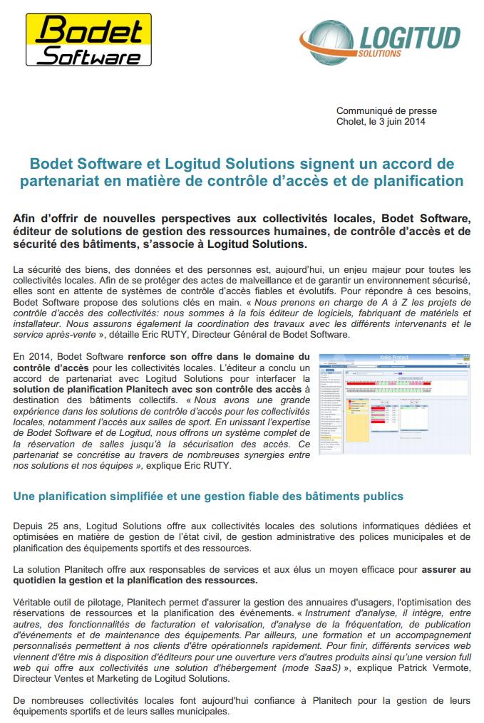 Bodet Software et Logitud Solutions signent un accord de partenariat en matière de contrôle d'accès et de planification