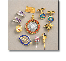 Corporate Jewellery, such as cufflinks, long service awards, tie pins, tie slides, brooches. Also in precious metals and
