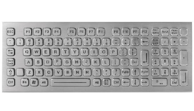 La familia de teclado inox para escritorio está compuesta por 3 tipos de teclado: la gama básica sin dispositivo señalad