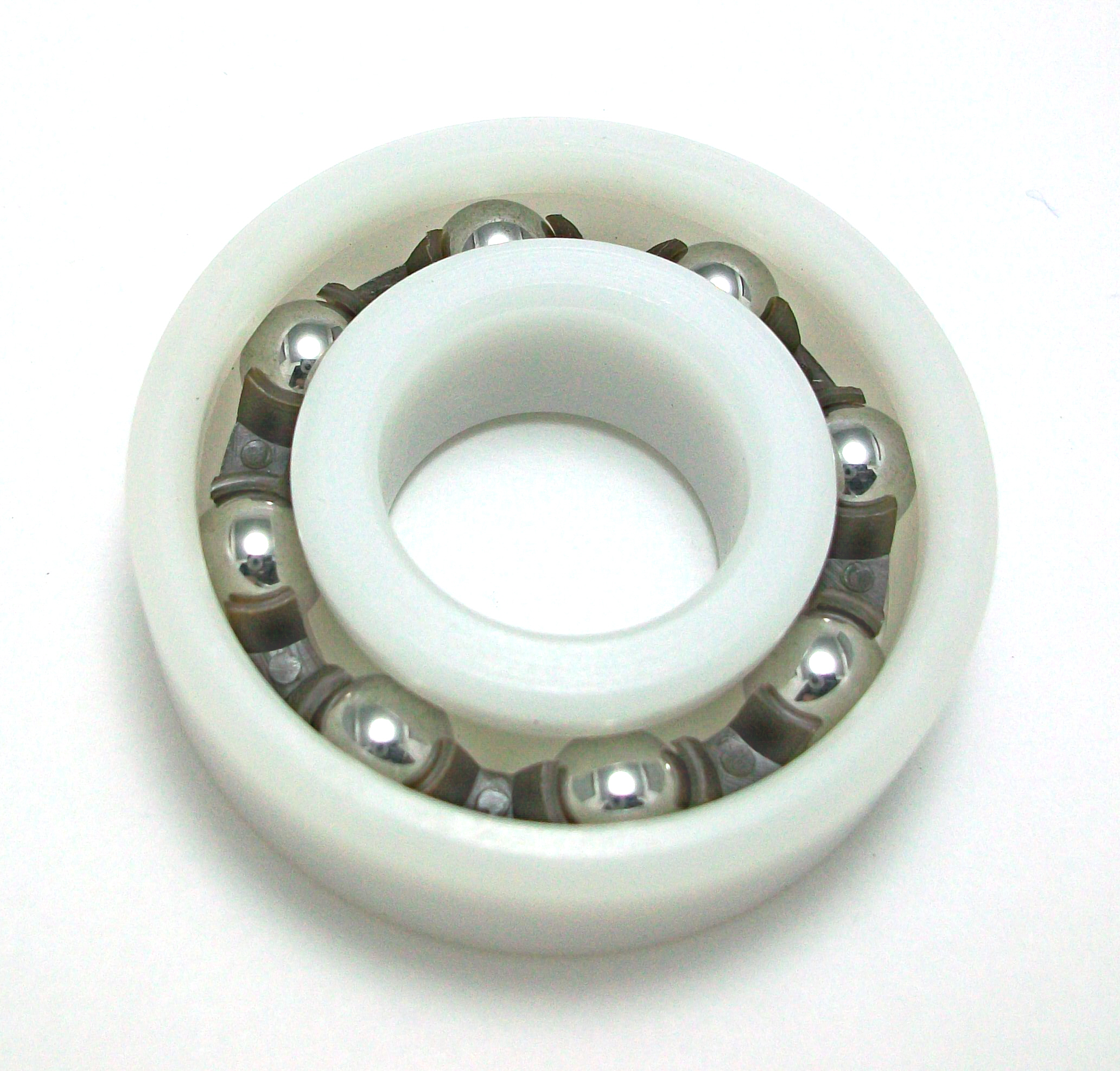 Plastic ball bearings are normally stocked with acetal resin (POM) rings and nylon (PA66) cages with 316 stainless steel