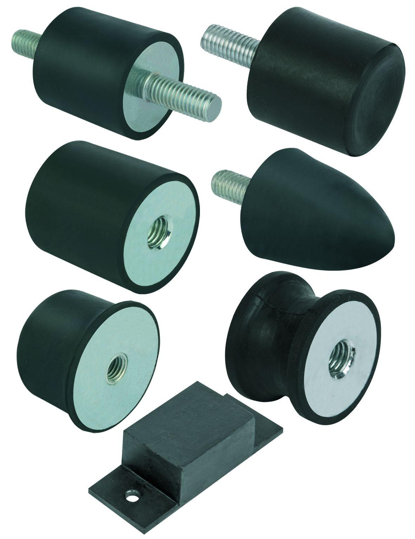 Werkstoff: Metallteile Stahl Festigkeit 5.6 oder Edelstahl. Elastomer Naturkautschuk, Härte mittel, 55° Shore A. Ausführ