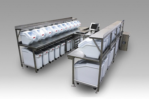 A semi-automatic ingredient batching system for the food industry is often referred to as a Kitchen Batching System. Th