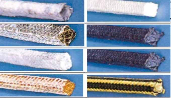 Empaquetaduras en diferentes filamentos e hilos:  Acrílicos Lino Aramida GFO Grafito Carbono PTFE Fibra de vidrio