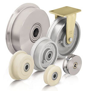 Spurkranzräder und Spurkranzrollen aus Stahl, Grauguss oder Gusspolyamid für verschiedene Schienennormen. Doppelspurkran
