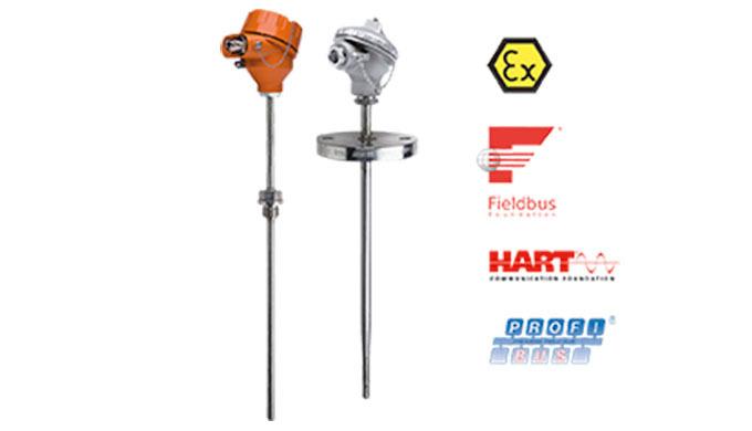 Messbereich: -200 ... +750°C Anschluss: Gewinde, Flansch, Einschweißhülse Tauchrohrmaterial: Edelstahl Sensor: Pt 100, 2