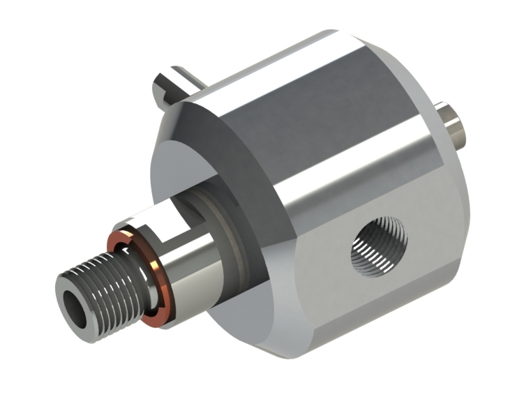 Rotating joint for high pressure and low speed Product characteristics: single inlet/outlet line aluminium housing rotor