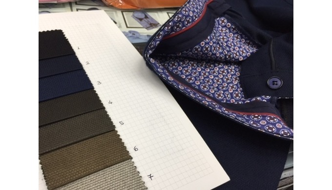 Production of cotton/lycra men's trousers