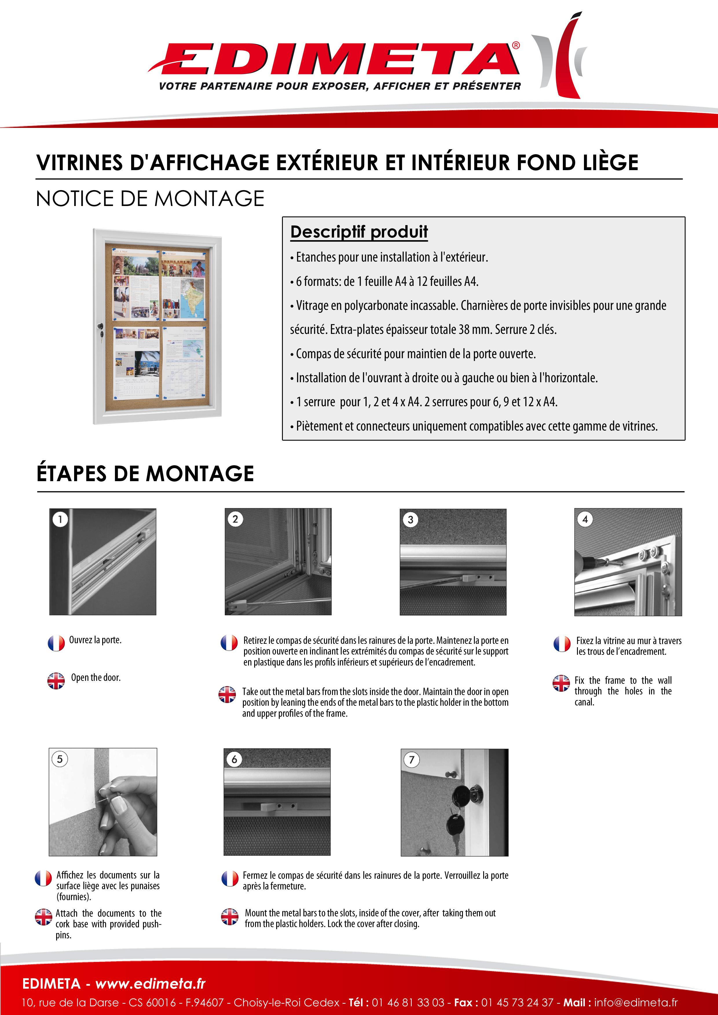 NOTICE DE MONTAGE : VITRINES D'AFFICHAGE EXTÉRIEUR ET INTÉRIEUR FOND LIÈGE