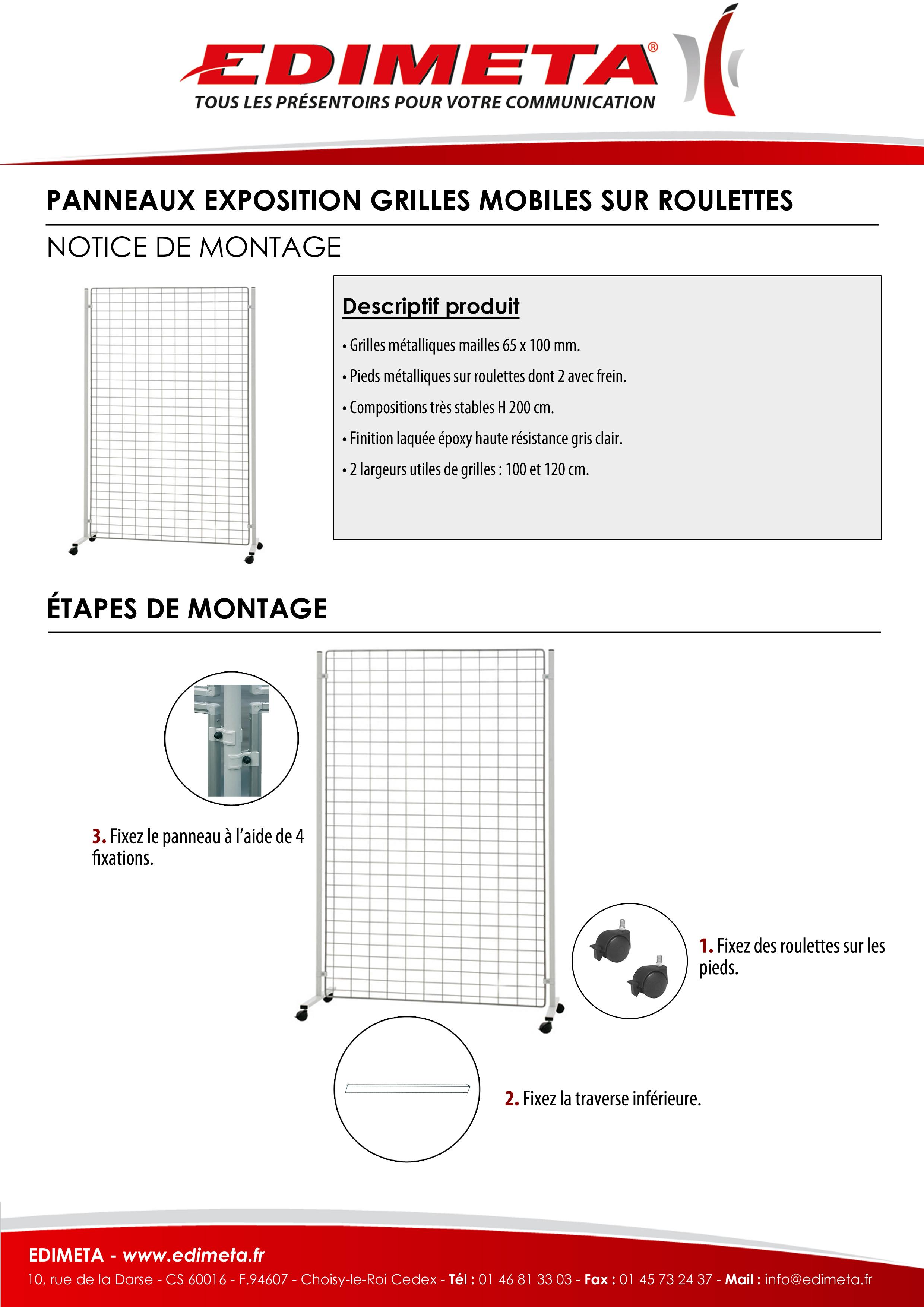 NOTICE DE MONTAGE : PANNEAUX EXPOSITION GRILLES MOBILES SUR ROULETTES